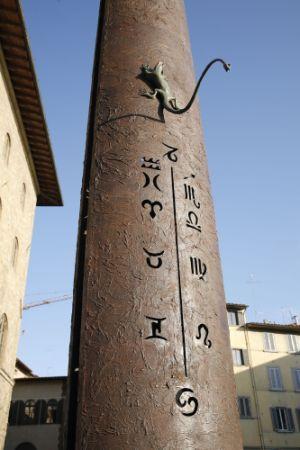 As horas são indicadas pela posição da cauda do híbrido de lagarto com serpente. Observem que o signo de Capricórnio (no centro e ao alto) está em destaque, pois assinala o solstício de inverno.