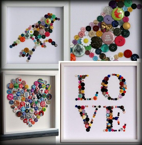 Crafts Made with Buttons | Craft ideas for those stray button and badges...