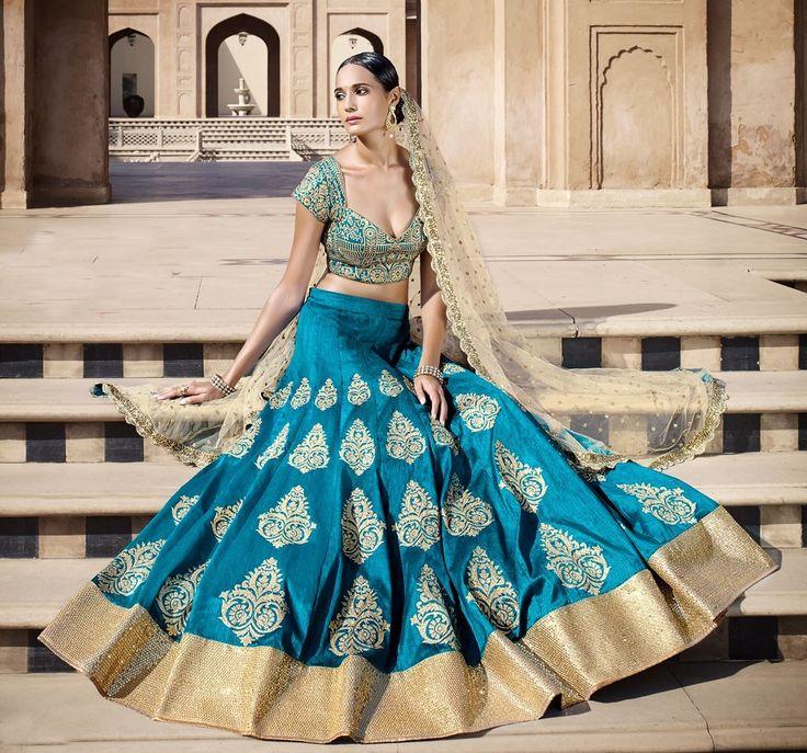 Bhagalpuri+Silk+Machine+Work+Blue+Semi+Stitched+Lehenga+-+KKVF317 at Rs 2950