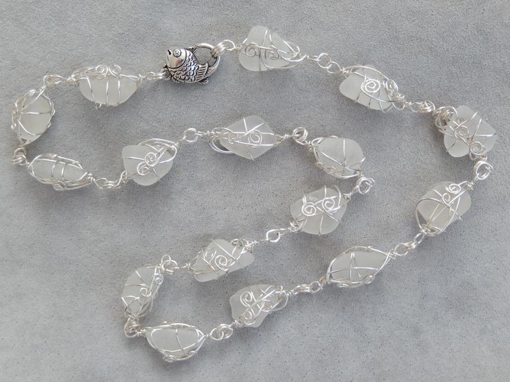 Endless genuine sea glass necklace with fish lobster clasp
