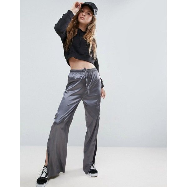 ASOS Premium Satin Wide Leg Track Pants with Side Split (£38) ❤ liked on Polyvore featuring pants, multi, high-waist trousers, wide leg pants, tall pants, high waisted trousers and high waisted pants