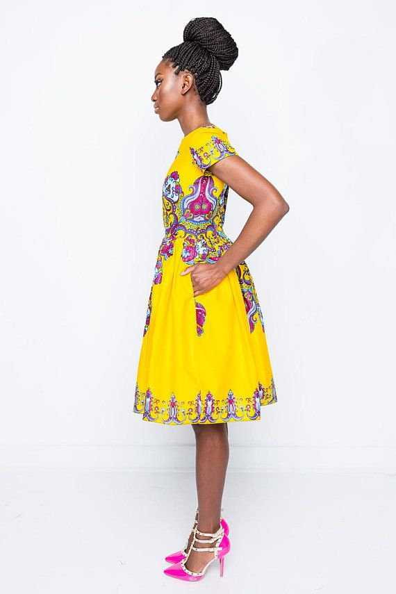 NEW Ronke Ankara African Print Tulip Dress