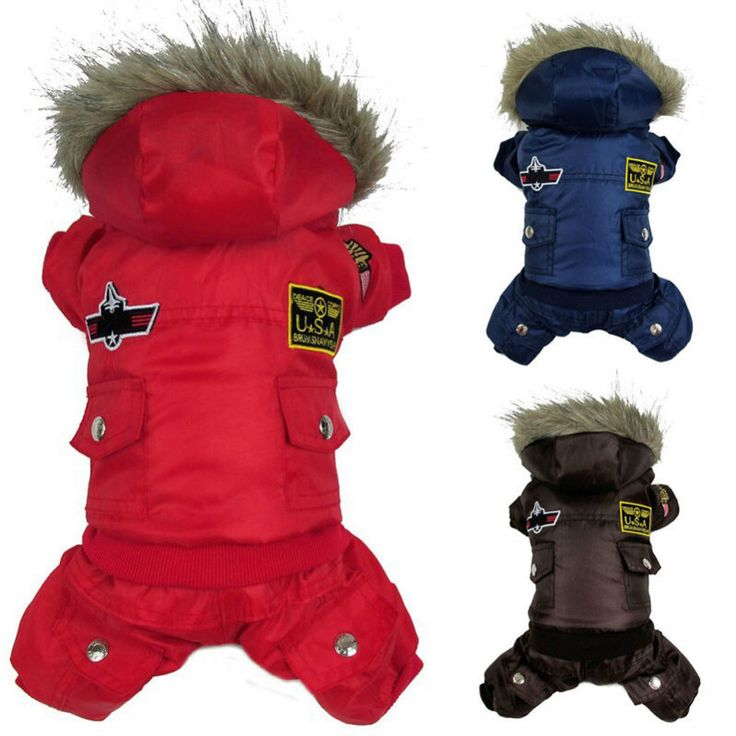 Dog Pet Warm Winter Coat Jacket USA AIR FORCE Waterproof Puppy hoody Clothes Padded Jumpsuit Pants Apparel Clothes for cat Puppy