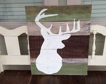 Reclaimed Wood distressed multiple colors hand painted deer silhouette sign hunting/camo theme room