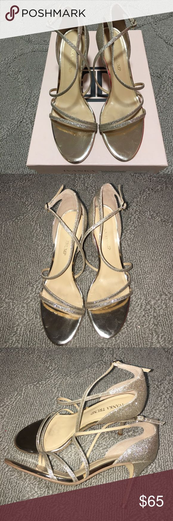 Ivanka Trump Garis Sandal Ivanka Trump Garis Sandal in glitter gold color.  So cute and dainty.  Straps wrap around ankle.  Used only twice.  I'm normally a 7.5, but the 7 fit better on me. Ivanka Trump Shoes Heels