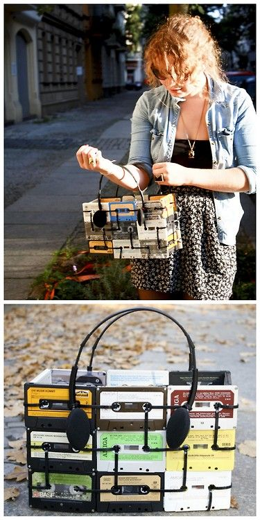 DIY Inspiration: Cassette Bag with Headphone Handles made with black zip ties.