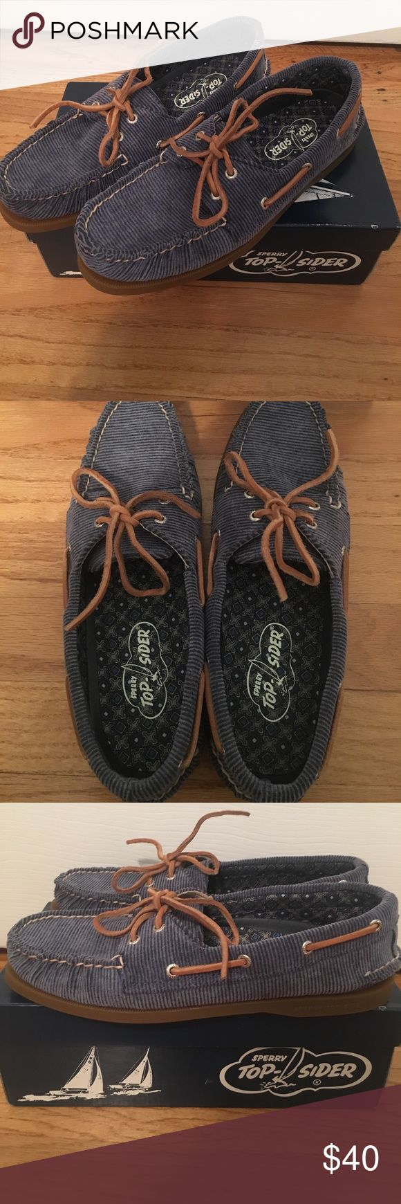 ⭐️SALE⭐️ Sperry Top-Sider Blue Corduroy Boat Shoes PRICE DROP! Size: 9 Brand new NEVER worn before! Perfect shoes for the fall and so comfortable for every day use! Purchased on sale at Nordstrom's and still in the box! Women's size 9! Make ANY offer if interested! Sperry Top-Sider Shoes Flats & Loafers
