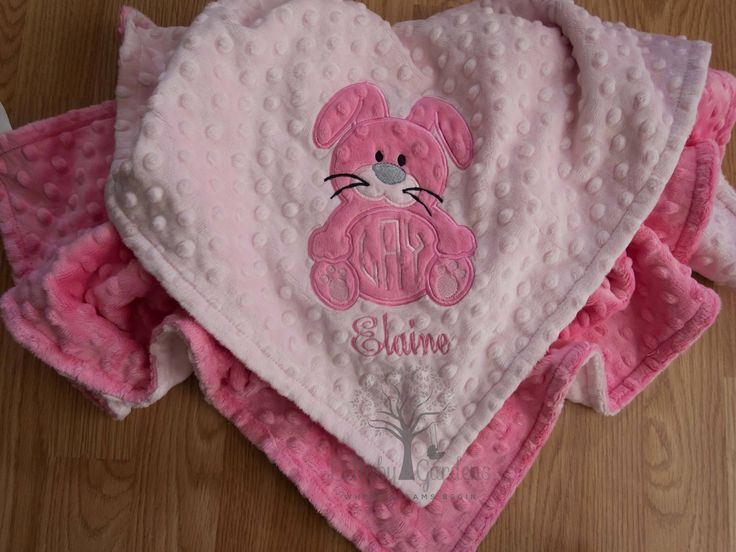 Personalized Minky Baby Blanket, Monogrammed Minky Baby Blanket, Monogrammed Baby Blanket, Bunny Minky Blanket, Baby Girl Baby Blanket by LullabyGardens on Etsy