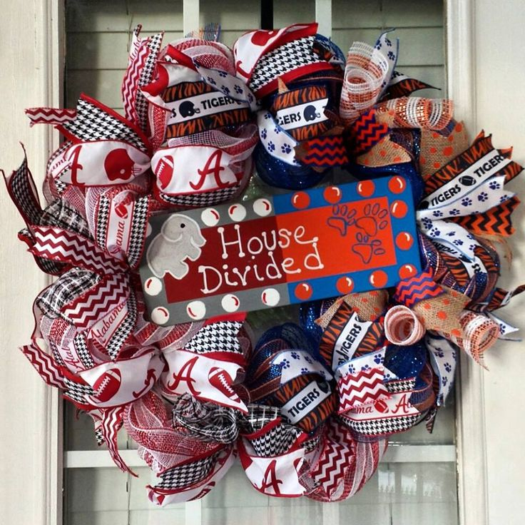 Alabama Crimson Tide and Auburn Tigers  House Divided Front Door Wreath- Bama War Eagle Door Decoration-Iron Bowl Deco Mesh Wreath - pinned by pin4etsy.com