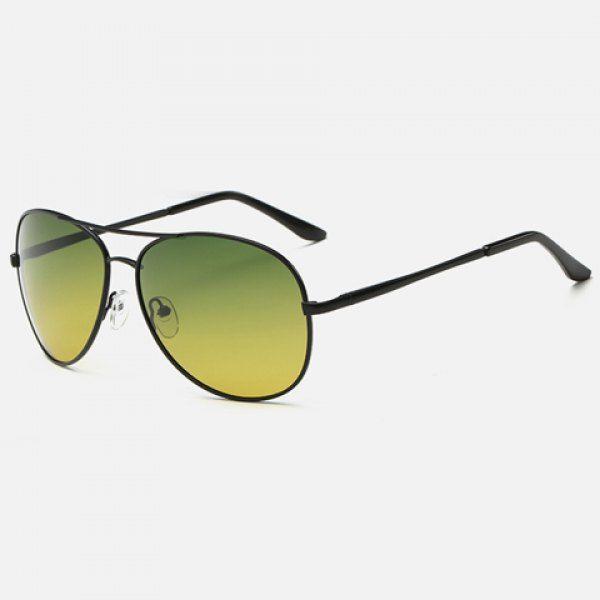 Stylish Metal Frame Night Vision Men Aviator's Sunglasses #men, #hats, #watches, #belts, #fashion, #style