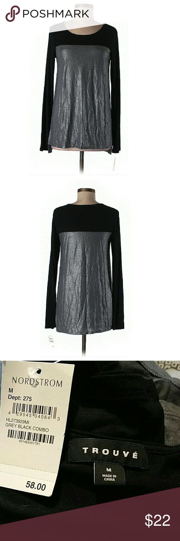 """Nordstrom Black & Gray Metallic Long Sleeve Top NWT. 34"""" chest, 27"""" long. All pictures are of the actual item that you will receive. Smoke-free home. Trouve Tops Blouses"""