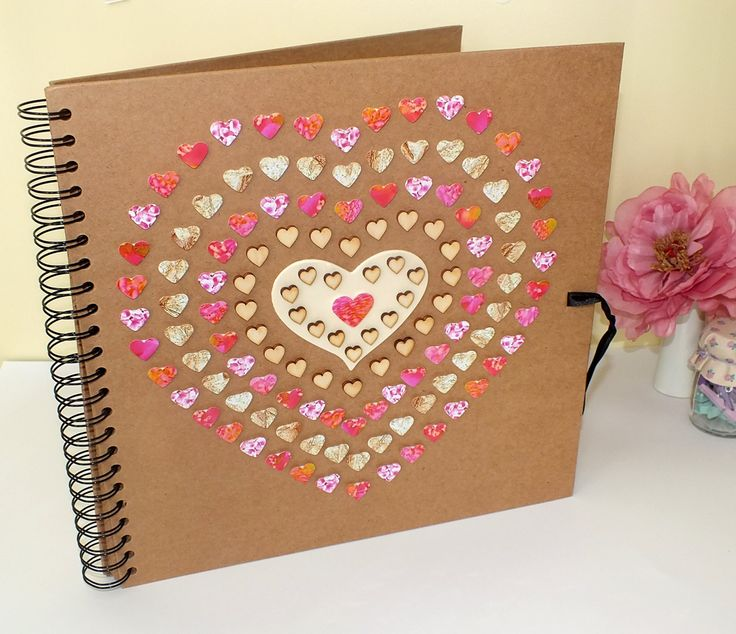 """Rustic Photo Album / Rustic Scrapbook / Wedding Photo Album / Kraft Album - Hand Decorated Large 12 x 12"""" Pink & Gold Love Hearts, Gift by CardsbyGaynor on Etsy"""