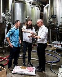 Solar-powered beer: Solar energy specialist Jake Steele, Young Henrys co-owner Oscar McMahon and Tom Nockolds from Pingala have the answer to