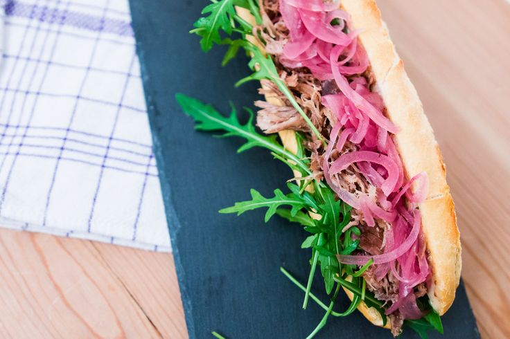 Baguette with duck confit, mustard mayo, rocket and pickled red onions
