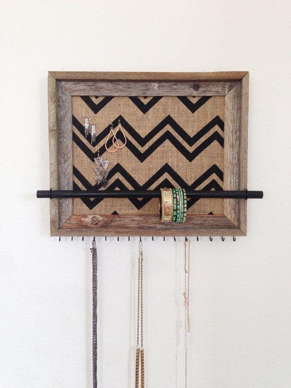 11x14 Barn Wood Jewelry Organizer (horizontal) w/ Chevron Burlap