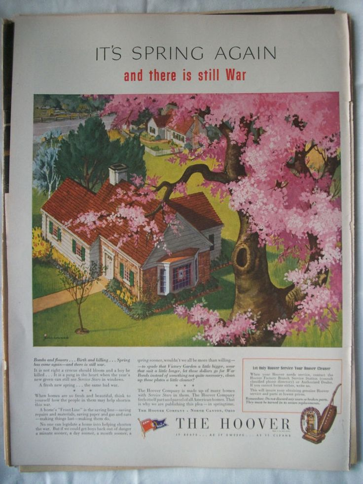 VTG 1944 Orig Magazine Ad The Hoover Vacuum Cleaner Spring Again & Still A War