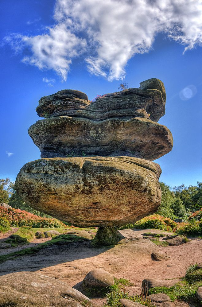 "Photo: ""The Brimham Rocks are balancing rock formations located on Brimham Moor in North Yorkshire, England. The rocks stand at a height of nearly 30 metres in an area owned by the National Trust which is part of the Nidderdale Area of Outstanding Natural Beauty"". – Wikipedia. (Photo by Tee Time Tony)"