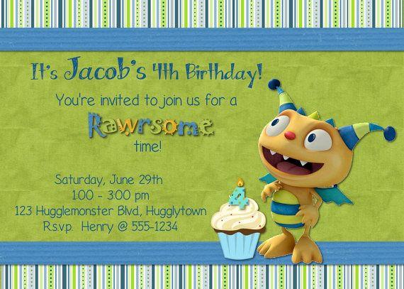 Custom Made Henry Hugglemonster Birthday Boy Invitation