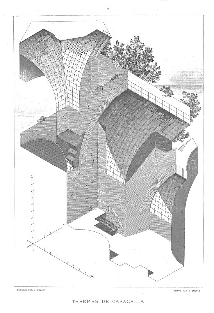 Axonometric details of the Thermae of Caracalla, Rome (212 AD) as drawn by the the architectural historian Auguste Choisy (1841-1902 AD). Choisy's axonometric illustrations are hella elegant and refined.
