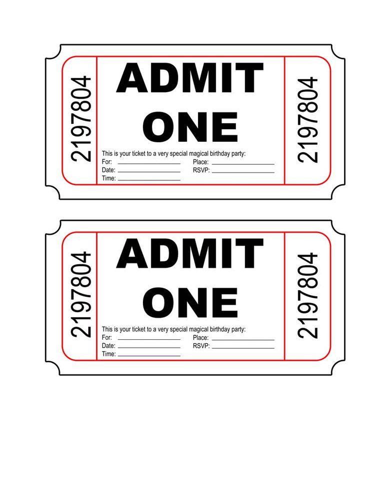 movie ticket invitation template free printable – Ticket Invitation Template Free