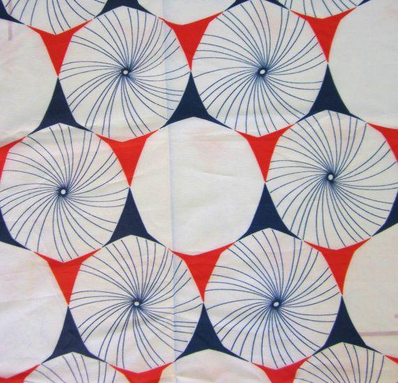 Vintage 1960s Mod Fabric-Sheer Polyester Crepe-Geometric Pinwheels- 1 yard. $9.00, via Etsy.