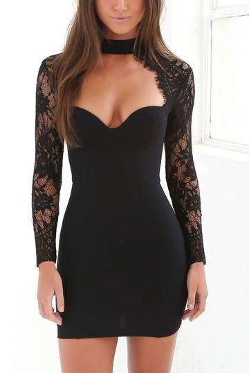 Sexy Elegant Lace Long Sleeves Bodycon Dress 17