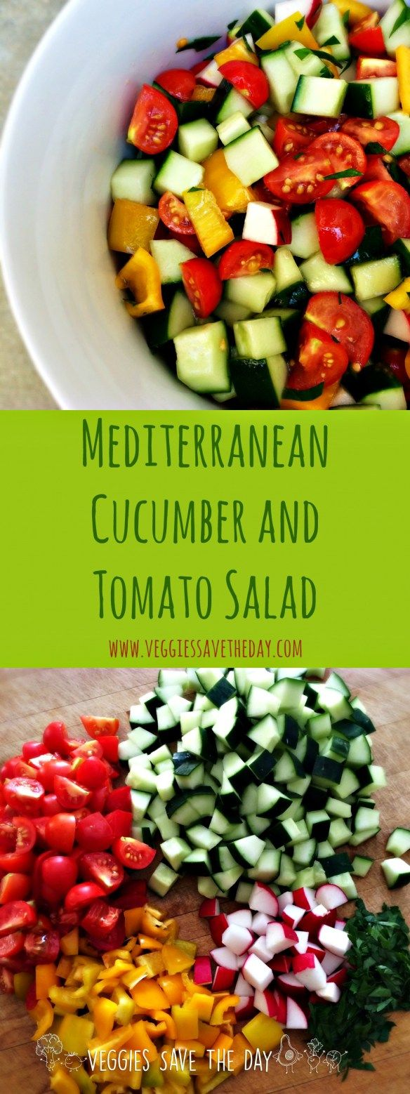 Mediterranean Cucumber and Tomato Salad is healthy, colorful, and easy to make with summer vegetables like bell peppers and radishes. Get this recipe and more like this when you visit www.veggiessavetheday.com, or pin and save for later!