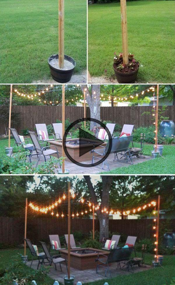 Pin On Déco Maison, Patio String Lights Pole Diy