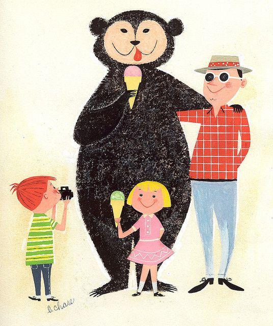 Vintage bear eating ice-cream