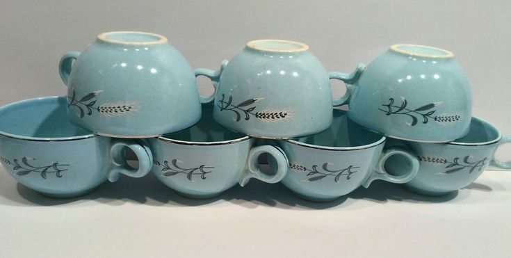 Taylor, Smith & Taylor Blue Pebbleford coffee or tea cup 1950's for 1 cup #TaylorSmithTaylor