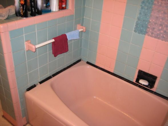 19 best images about bathrooms so bad they 39 re good on for Pink and blue bathroom ideas