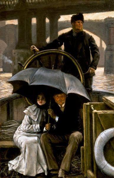 """James Tissot (French, 1836-1902) - """"Sur le bateau sous la pluie"""" (On the ferry boat in the rain)"""