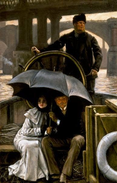 "James Tissot (French, 1836-1902) - ""Sur le bateau sous la pluie"" (On the ferry boat in the rain)"