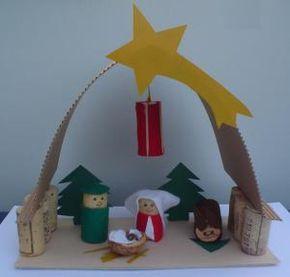 Presépio em: http://www.wunderbare-enkel.de/weihnachten-basteln/1388/Weihnachtskrippe-aus-korken kerststal