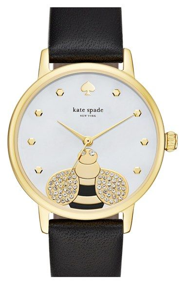 kate spade new york 'metro - bee' leather strap watch, 34mm