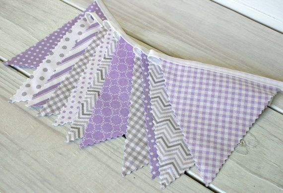Bunting Banner, Fabric Flags, Baby Nursery Decor, Wedding Decor, Photography Prop - Lavender and Gray Chevron Dots Gingham - Ready to Ship