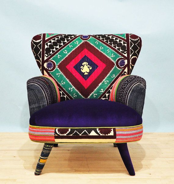Suzani armchair  vintage geo by namedesignstudio on Etsy, $1600.00