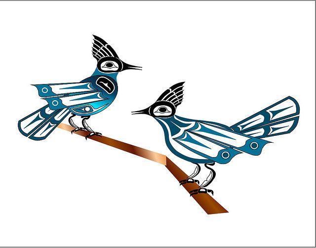 Two Jays ~ Fred Croydon, Haida Point Art bird theme 1 one of tricia's faves