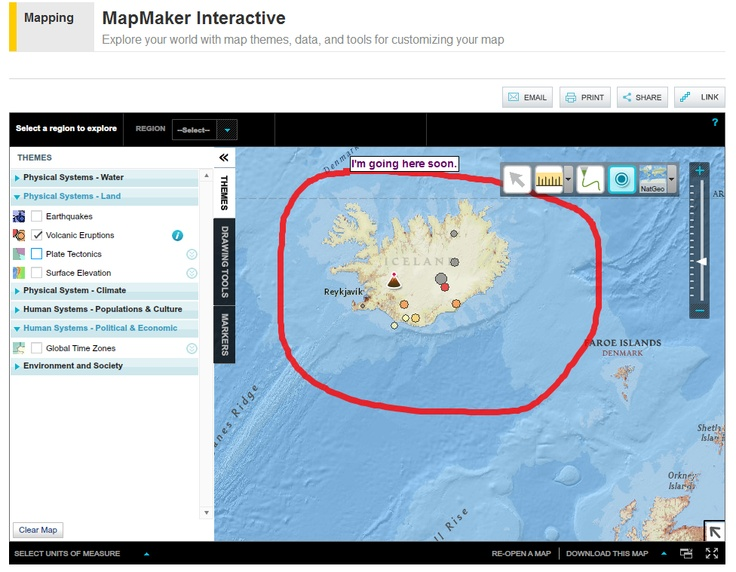 National Geographic's Map Maker Interactive offers six themes on which users can create custom map displays. Within each theme there are subcategories to choose from. For example, you can select the theme Physical Systems Land then choose volcanic eruptions to display on your map. Map Maker Interactive also provides drawing tool and marker icons that you can place on your map.