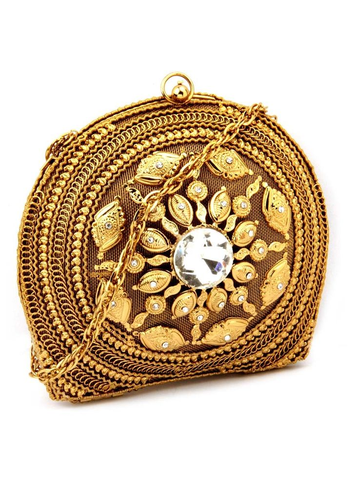 Pleasing Clutch #Purse made from gold plated brass metal glamorized with diamantes and crystal. Item code ; SJBP2013 http://www.bharatplaza.com/new-arrivals/accessories.html