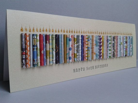 Large Happy 50TH Birthday Candle Card, Can be Personalised with a name. Can be Customised to ages 51,52,53,54,55,56,57,58,59