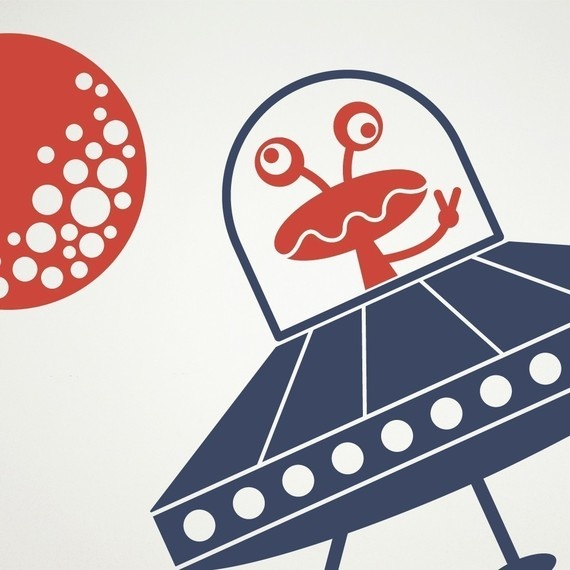 UFO Wall Decal Sticker Peaceful Martian Space by graphicspaces, $30.00