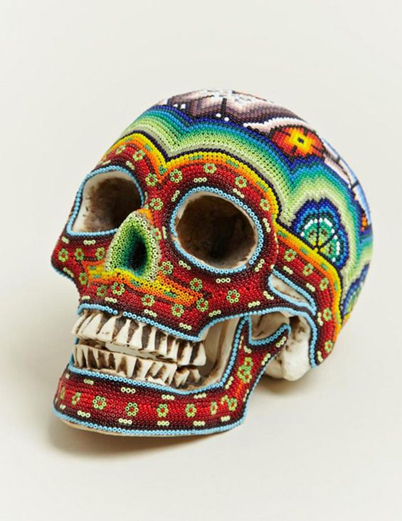 beaded skulls - our exquisite corpse + huichol community artists, west mexico, 2012 [link to series of designs/artworks]