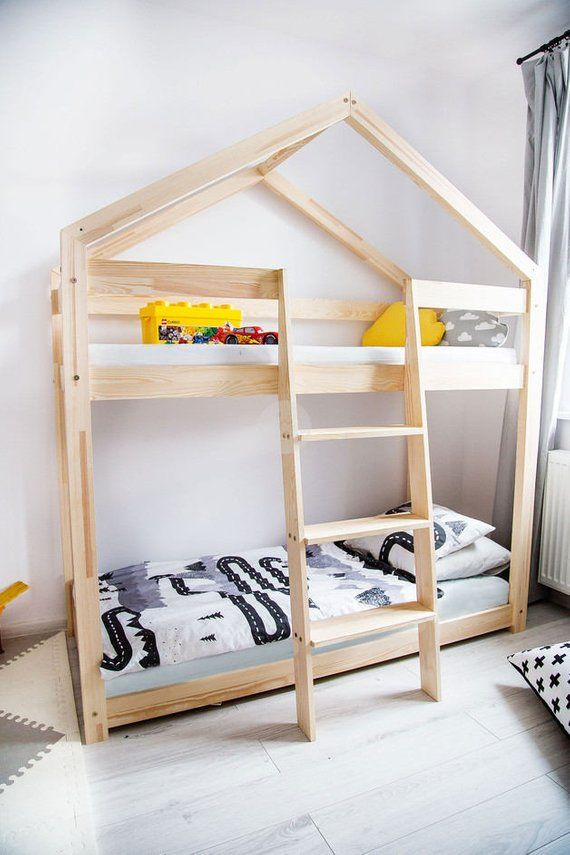 Silverelk Bunk House Beds Or Loft Bed Montessori Style Etsy Kid Beds Kids Bunk Beds House Beds For Kids
