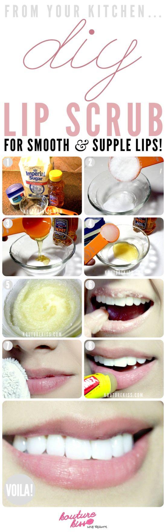 DIY - Lip Scrub!   Exfoliante labial casero!  miel + azúcar + vaselina