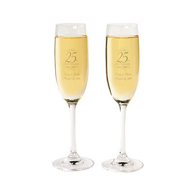 Personalized 25th Anniversary Flutes. Celebrating your silver anniversary? Make your 25th anniversary party memorable with a special toast to happiness and ...