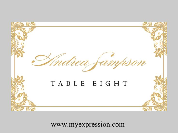 Wedding place cards template folded gold damask for Design table name cards