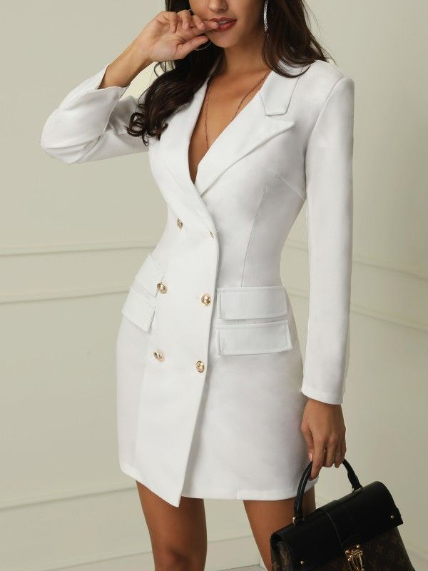 36ba67f499a2 V-Neck Double Breasted Blazer Dress | Formal | Fashion, Blazer dress ...