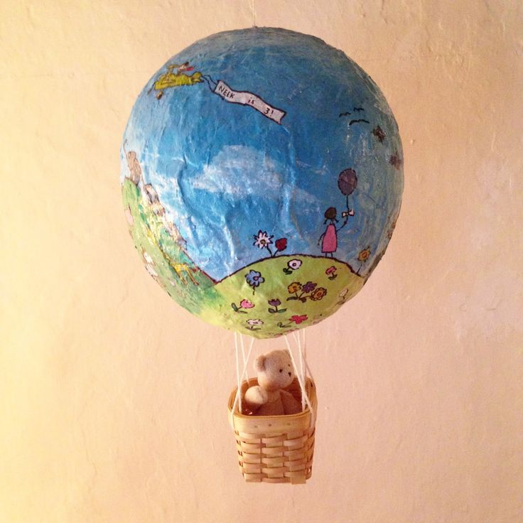 How to make an adorable Paper Mache hot air balloon for children's room decor.
