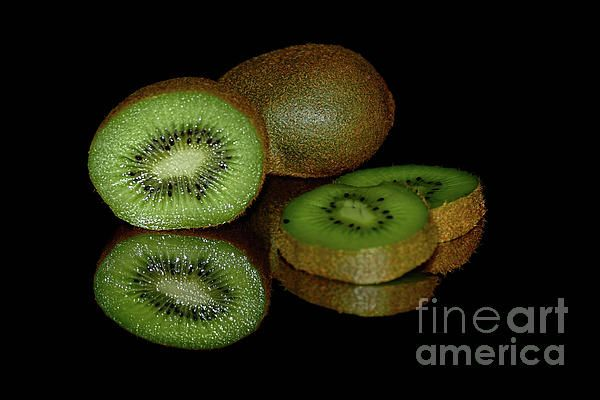 #Kiwi_fruit #Reflecting on #Black by #Kaye_Menner #Photography Quality Prints Cards Products at: http://kaye-menner.pixels.com/featured/kiwi-fruit-reflecting-on-black-by-kaye-menner-kaye-menner.html